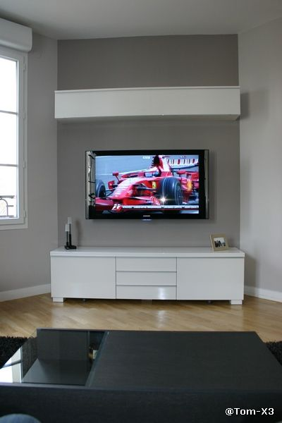 installer sa tv au mur conseils astuces et photos. Black Bedroom Furniture Sets. Home Design Ideas
